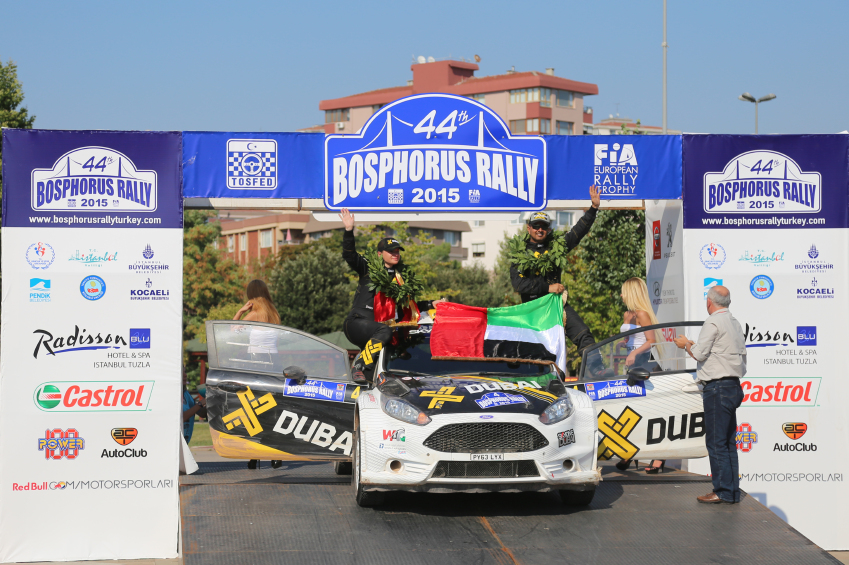 ISTANBUL, TURKEY - JULY 26, 2015: Rashid Al Ketbi with Ford Fiesta R5 of X Dubai World Rally Team in Podium Ceremony of Bosphorus Rally 2015