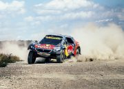 Filimonovo, Russia - July 11, 2016: racing car Peugeot driving on a dusty road during Silk way rally